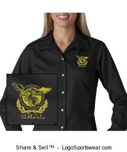 Ladies Black Twill Shirt Design Zoom