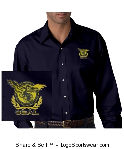 Men's Navy Twill Shirt Design Zoom