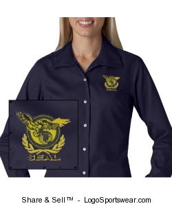 Ladies Navy Twill Shirt Design Zoom
