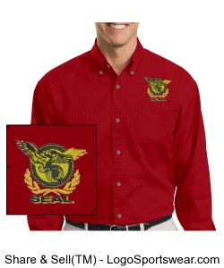 Harriton Mens Long-Sleeve Twill Shirt with Stain-Release Design Zoom