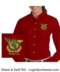 Harriton Ladies Long-Sleeve Twill Shirt with Stain-Release Design Zoom